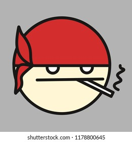 emoticon with tough guy in bandana that is smoking a cigarette & living his life like a thug, circle shaped vector emoji in color, simplistic colorful pictogram, funny cartoon character from a set
