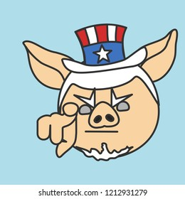 emoticon with Uncle Sam pig pointing finger at you, usa mascot wants you for US army, american government or president personification in striped tophat with stars, vector emoji drawn by hand in color