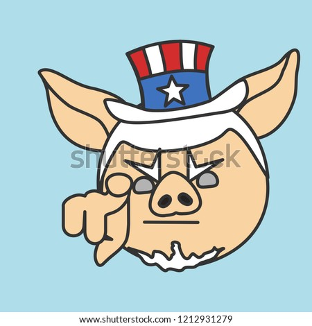 fda444c362a1 Emoticon Uncle Sam Pig Pointing Finger Stock Vector (Royalty Free ...