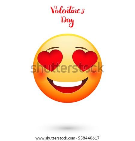 Emoticon Valentines Day Emoji Hearts Eyes Stock Vector Royalty Free
