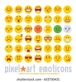 emoticon with various emotions cute faces, pixel art style icons set. colorful vector graphic illustrations isolated on white background.