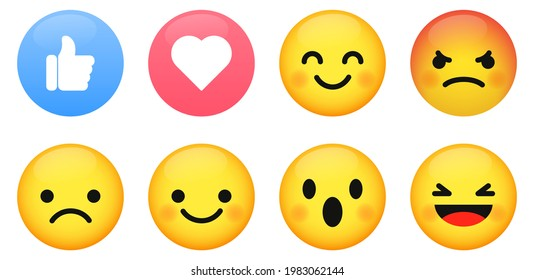 Emoticon vector buttons. Set of emoji with different reactions