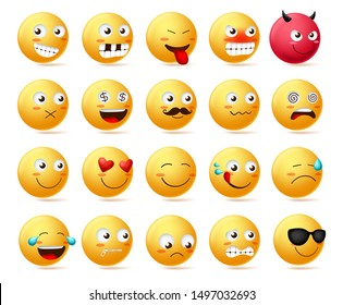 Emoticon vector character face set. Cute faces emoji in side view with happy, angry, scared, silent, sad, evil and inlove isolated in white background. Vector illustration.
