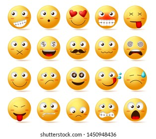 Emoticon vector icon set. Emoji face or yellow emoticon with facial expressions and emotions like happy, inlove, confused and dizzy isolated in white background. Vector illustration.
