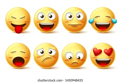 Emoticon vector icon set. Emojis and funny smiling face with happy, sad, inlove and naughty facial expressions isolated in white for design elements. Vector illustration.