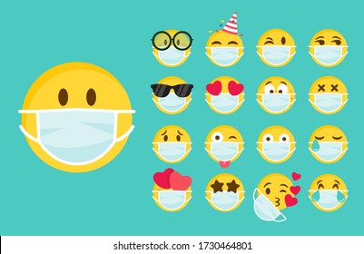 Emoticon wearing face masks in laugh, yay, smile, wow, love, angry and sad emotions on white background. PM2.5 protection, COVID-19 protection vector emoticon. Face masks emoticon. Protection symbol