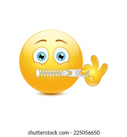 Emoticon zipping on a white background. Vector