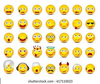 Emoticons. Big set on white background. Emoji vector illustration