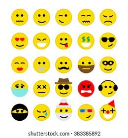 emoticons emoji smiley faces set isolated on white background