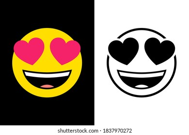 Emoticons face expression on color and line black color design concept. Very suitable in various business purposes, also for icon, symbol and many more.
