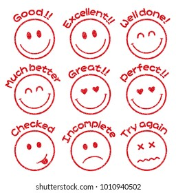 emoticons / face stamp icon set for educational use etc. (Good!,Excellent,Incomplete,Checked etc.)