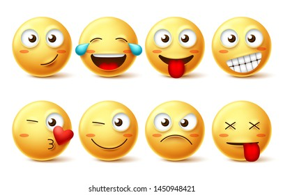 Emoticons face vector set. Yellow emoji and emoticons with happy, funny, kissing, laughing and tired facial expressions isolated in white background for design elements. Vector illustration.