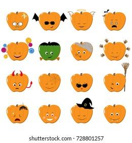 Emoticons halloween vector set. Cute funny stickers. Emoji pumkins flat cartoon style. Vector illustration