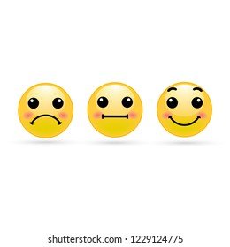 Emoticons icon negative, neutral and positive, different mood. Vector illustration.