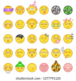 Emoticons icon set for web. Happy, sad, angry, in love faces of emoticon.Smiley face simple set with facial expressions isolated in white background. Vector illustration.