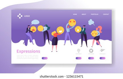 Emoticons Landing Page. Team Work Concept with Flat People Characters Expressions Website Template. Easy Edit and Customize. Vector illustration