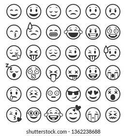 Emoticons outline. Emoji faces emoticon funny smile line black icons expression smiley facial people humor mood, flat vector isolated set