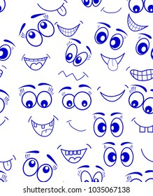 emoticons seamless pattern emotions eyes mouth face