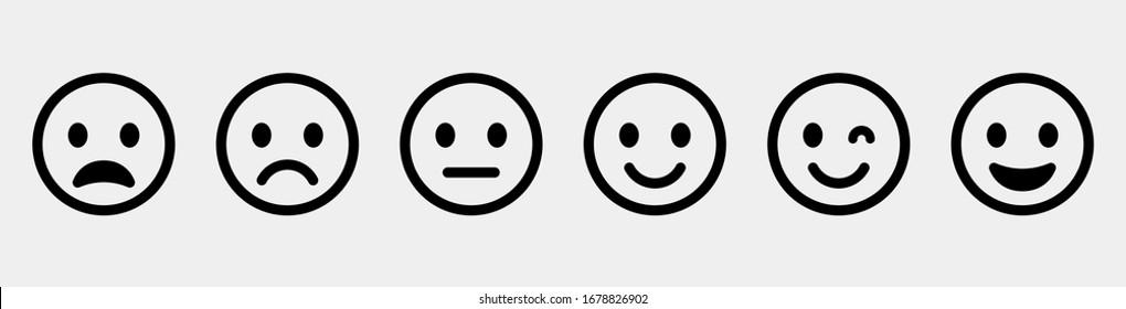 Emoticons set. Emoji faces collection. Emojis flat style. Happy and sad emoji. Line smiley face - stock vector.