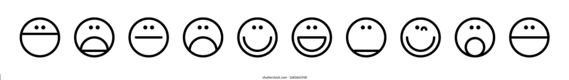 Emoticons set. Emoji faces collection. Emojis flat style. Happy and sad emoji. Isolated on white background. Vector illustration.