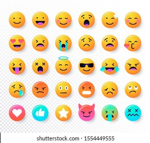 Emoticons set. Emoji faces emoticon smile, digital smiley expression emotion feelings, chat messenger cartoon emotes. Vector illustration icons
