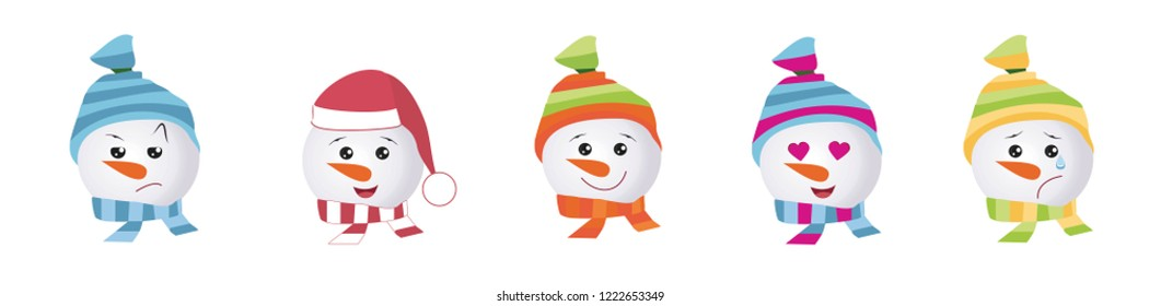 Emoticons set of Graphic - snowmans. Collection of vector emoji. Smile icons web on white background.