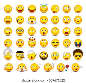 Emoticons set isolated on white background. Funny emoticons with hands