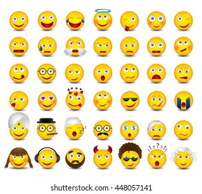 Emoticons set on white background. Emoji