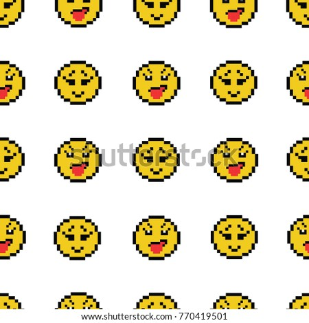 794da22c15 Emoticons smile people faces vector seamless pattern on white background.  Yellow isolated various emoji icons