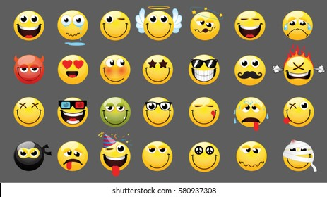Emoticons or smileys icon set for web. Happy, sad, angry, in love faces of emoticon.Smiley face  simple set with facial expressions isolated in white background. Vector illustration template.