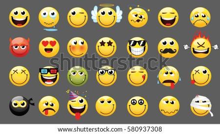 Emoticons Smileys Icon Set Web Happy Stockvector Rechtenvrij