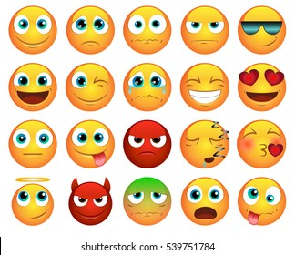 Emoticons or smileys icons set for web
