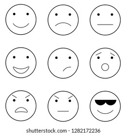 emoticons in the vector. 6 emoticons with different emotions