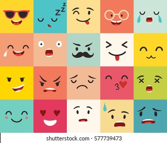 Emoticons vector pattern. Emoji square icons. Cute emoji colorfull illustration. Big set flat cartoon style. Face  funny backgound