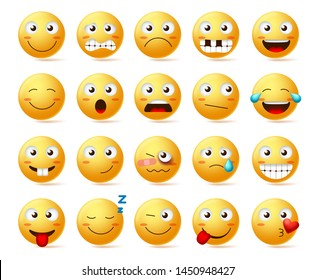 Emoticons vector set. Emoji smiling face or yellow emoticon with various facial expressions and emotions like happy, lonely, confused and hurt isolated in white background. Vector illustration.