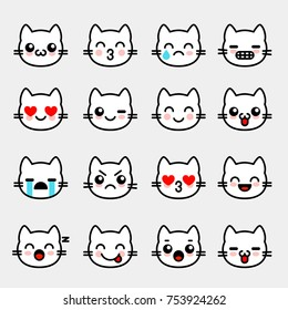 Emoticons with white kitten. Emoji collection for chat. Vector illustration set with cats faces in line style