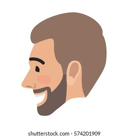 Emotion avatar man happy successful face side view. Emotional avatar of smiling male with open mouth. Expression of laughing face, character in good mood enjoying life vector illustration in flat