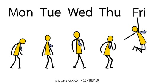 Emotion of business people from Monday to Friday. Vector illustration.