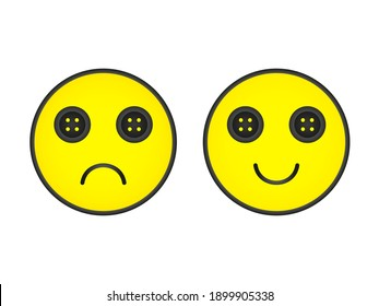 Emotion with buttoned creepy eyes. Smiling and sad yellow face with buttons instead of eye vector character mood design.