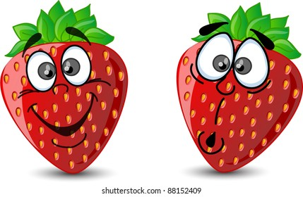 Emotion cartoon strawberries