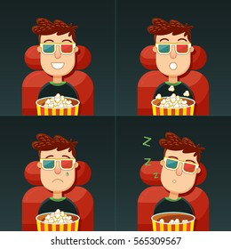Emotion in the cinema. Fun, fear, sadness and boredom. Man in 3d glasses seating in chair with popcorn in cinema. Concept: comedy, horror, drama and boring movie.