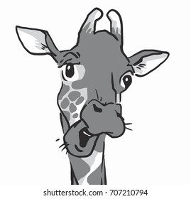 emotion faces of a giraffe, talking giraffe isolated at white background, black and white vector sketches in cartoon style, drawings