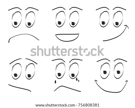 emotion faces icon set cartoon faces different stock vector royalty