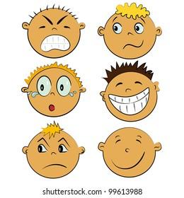 emotion faces set. cartoon children emotions collection