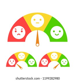 Emotion feedback concept. Includes such emoticon as angry,  neutral and happy expression, arranged into a semi circle. Customer's service and evaluation review sign. Vector illustration.