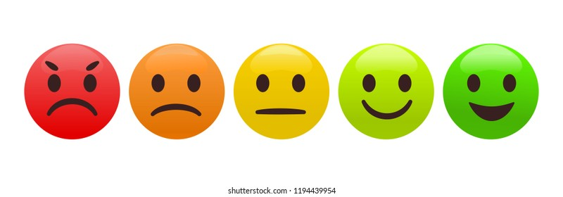 Emotion feedback scale. Includes such emoticon as angry, sad, neutral, joy and happy expression, arranged into a horizontal row. Customer's service and evaluation review sign. Vector illustration.