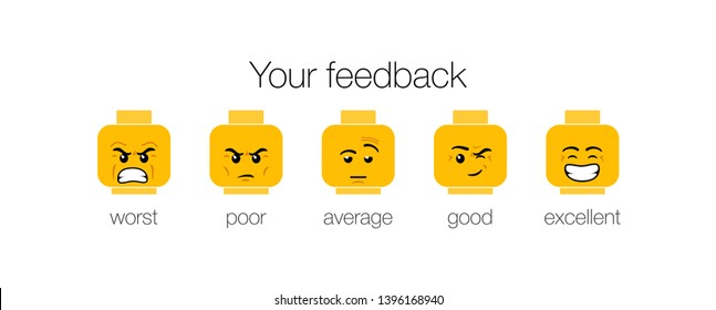 emotion feedback scale on white background. Angry, sad, neutral, satisfied and happy emoticon set Review of consumer. yellow funny cartoon Emoji icons User experience. Rank, level satisfaction rating
