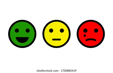 Emotion feedback scale. Smile, emoji or faces with emotions of joy, neutral and sadness of satisfaction. Set of emoticon icons. Illustrations of facial expressions on white background. Vector EPS 10