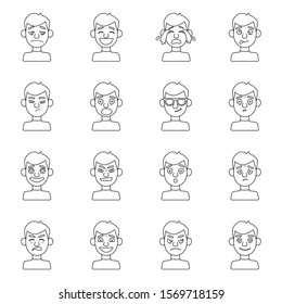 Emotion guy vector line illustration.Set icon of sad,laugh,cry emotion.Laugh and cry guy.