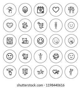Emotion icon set. collection of 25 outline emotion icons with emotion, heart, envy, kitty, happy, laughing, love, neutral, pessimistic, pensive, scream icons. editable icons.